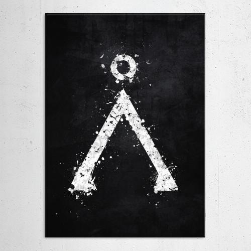 stargate earth symbol character emblem star gate black white splatter splat sci fi scifi space Other