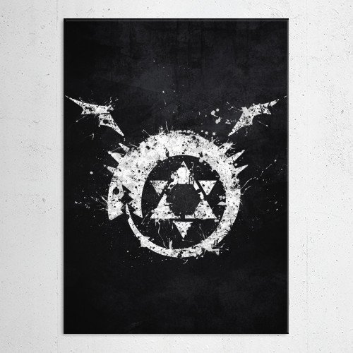 fullmetal alchemist brotherhood full metal homunculus homunculi aura bora anime manga white black logo emblem symbol splat Anime & Manga