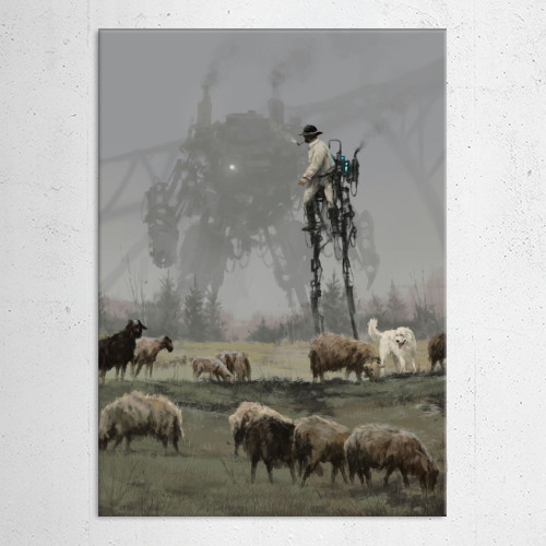 concept art painting mech illustration 1920 game Paintings