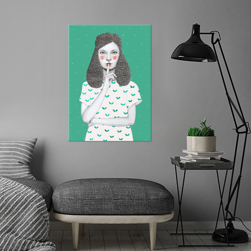 girl dots shh pattern watercolour Illustration