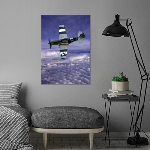 north american p51 mustang fighter aircraft aviation plane warbird clouds wwii vintage Vintage