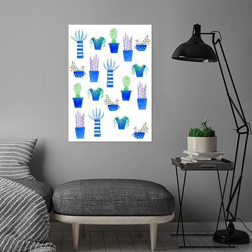 succulents succulent cactus cacti plant plants houseplants nature watercolor watercolour painting Illustration