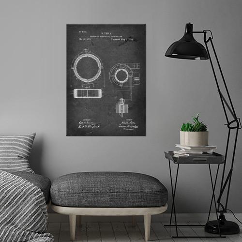patent system of electrical distribution tesla vintage illustration Illustration