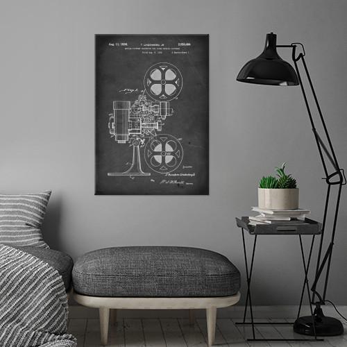 vintage patent illustration projector reel to Vintage