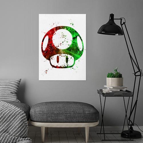 mario mushroom super bros brothers red green video game nintendo gaming classic retro canvas paint logo symbol emblem Gaming