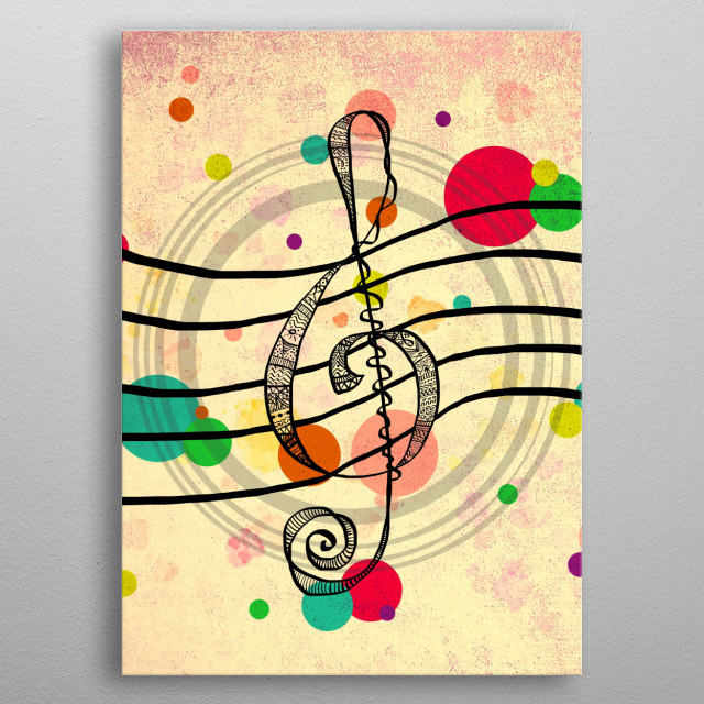 Hand drawn Treble Clef, patter... by Silvia Ganora | Displate