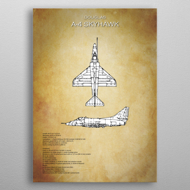 Douglas a4 skyhawk blueprint by airpower art metal posters displate malvernweather Image collections