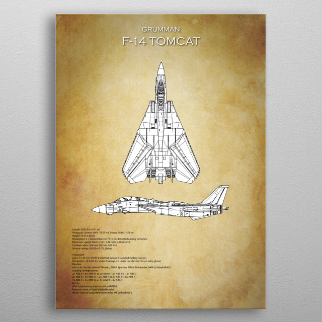 Grumman f 14 tomcat blueprint by airpower art metal posters displate grumman f 14 tomcat blueprint metal poster malvernweather Image collections