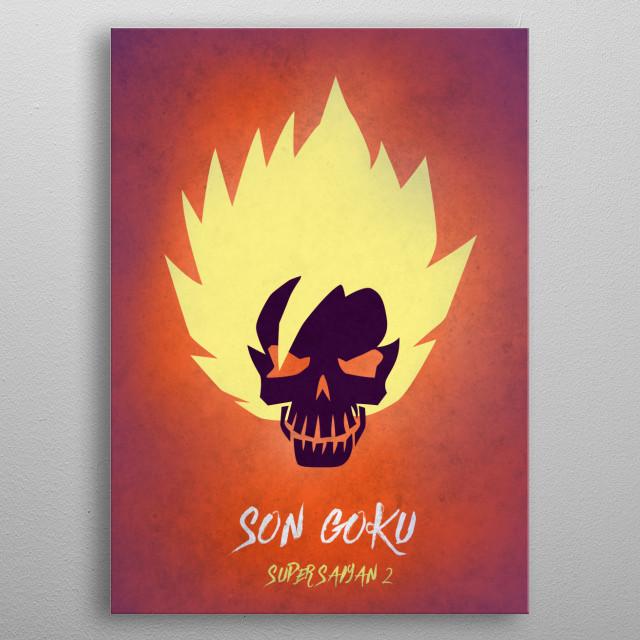 Son Goku Super Saiyan 2 Skull Metal Poster