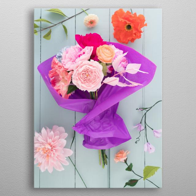 Crepe paper flower bouquet by Elisabeth Coelfen | metal posters ...
