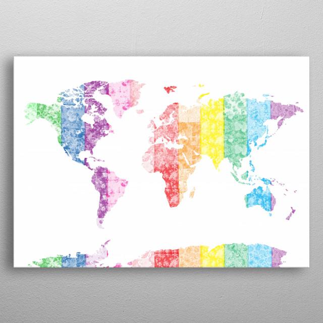 World map rainbow by bekim mehovic metal posters displate world map rainbow metal poster gumiabroncs Gallery