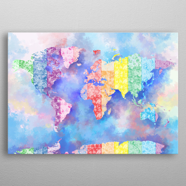 World map rainbow 2 by bekim mehovic metal posters displate gumiabroncs Gallery
