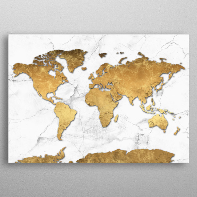 World map gold 3 by bekim mehovic metal posters displate world map gold 3 metal poster gumiabroncs Choice Image