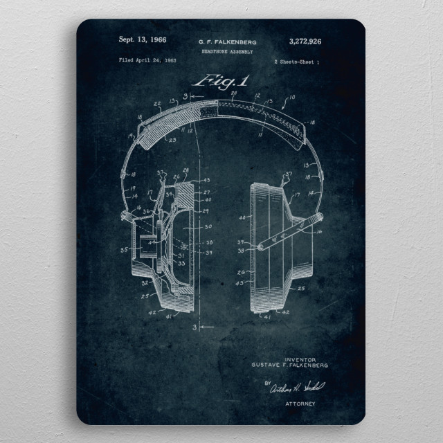 No010 - 1963 - Headphone assembly - Inventor Gustave F. Falkenberg pocket-size metal print from Black box