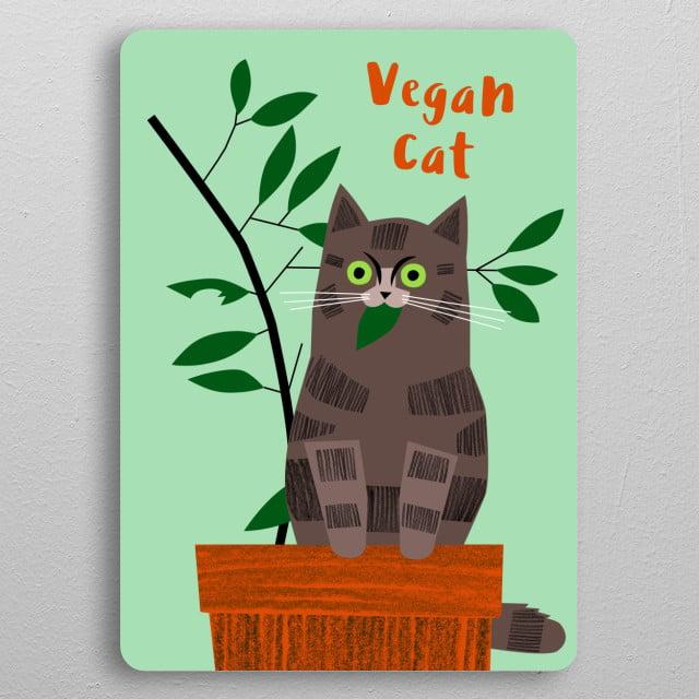 Vegan Cat pocket-size metal print from Black box