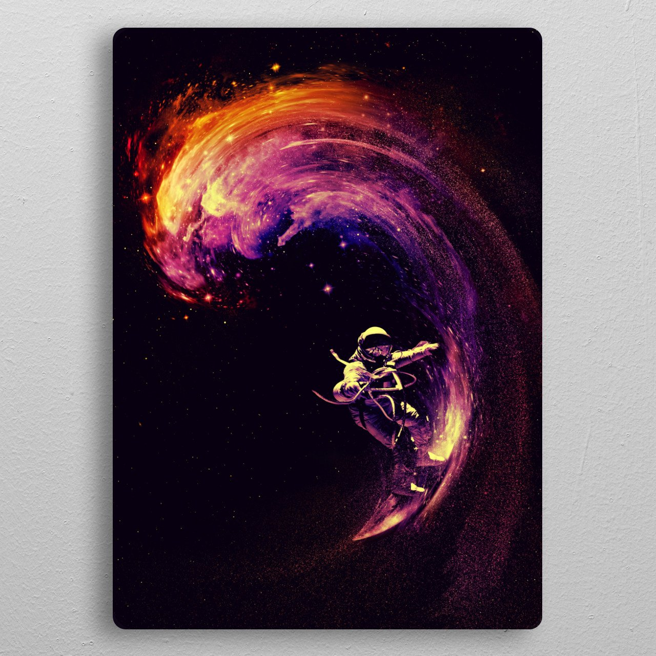 Space Surfing pocket-size metal print from Black box