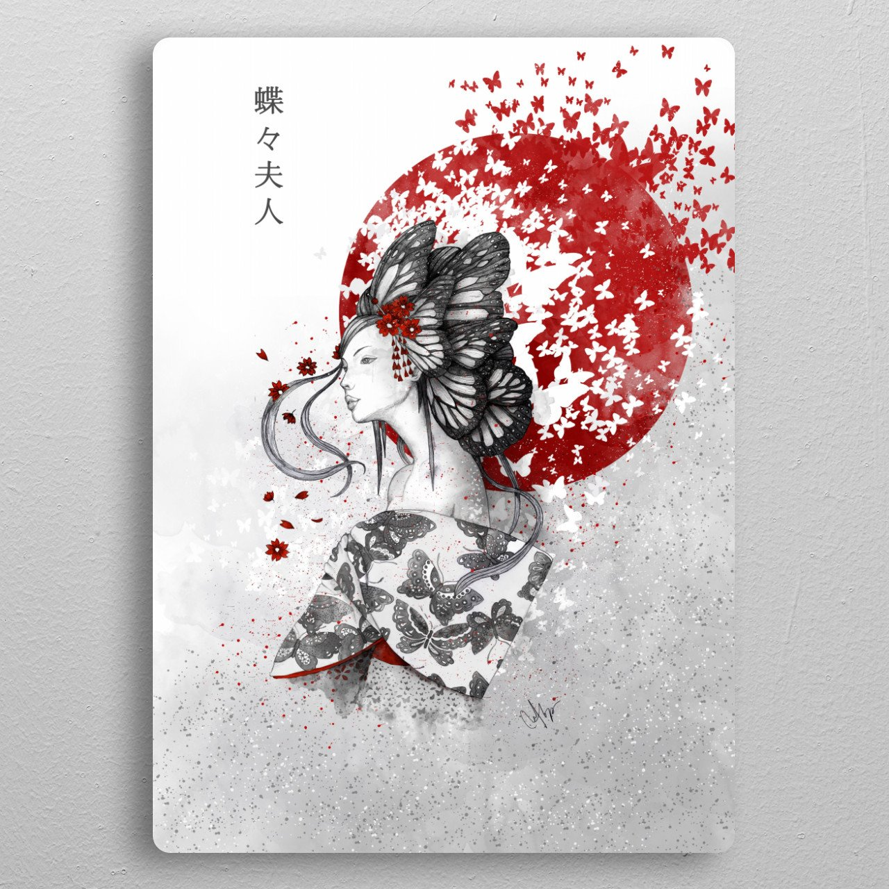 Madame Butterfly pocket-size metal print from Black box