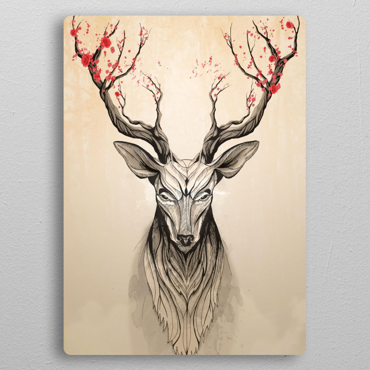 Deer Tree pocket-size metal print from Black box