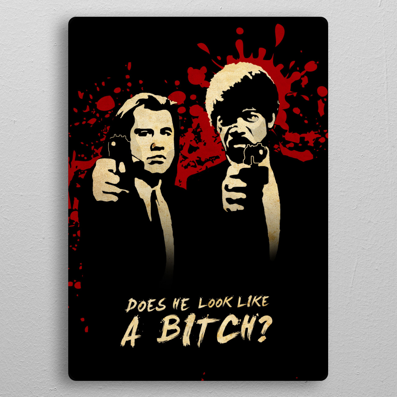 Does he look like a Bitch? pocket-size metal print from Black box