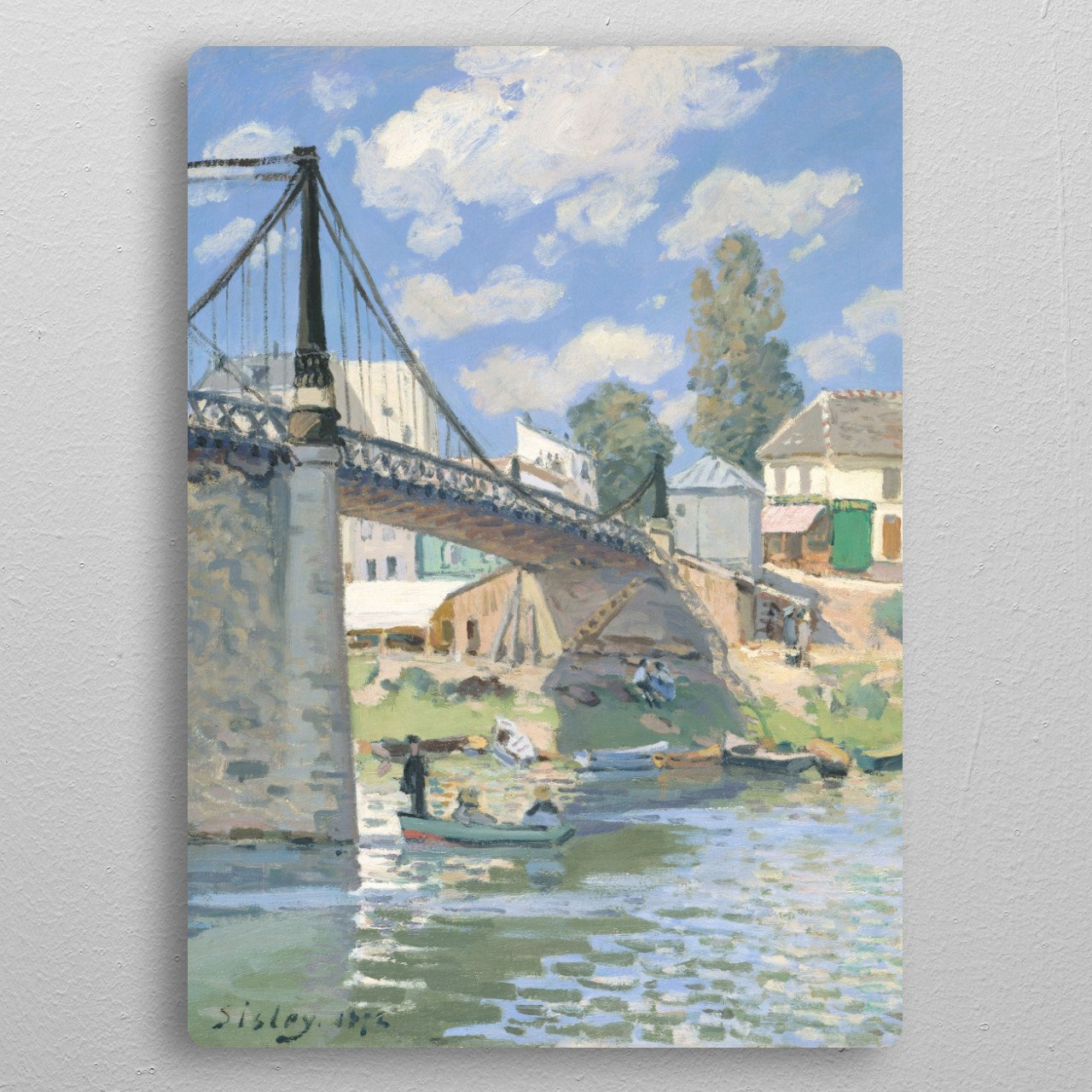 Alfred Sisley - The Bridge at Villeneuve-la-Garenne, 1872 oil on canvas; Collection of The Metropolitan Museum of Art in New York pocket-size metal print from Black box