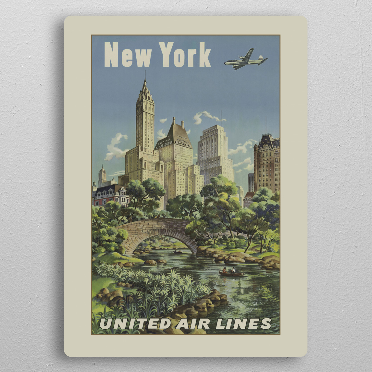 Vintage Travel Poster pocket-size metal print from Black box