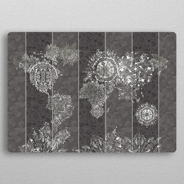 World map mandala vintage grey by bekim mehovic displate world map mandala vintage grey metal poster gumiabroncs Image collections
