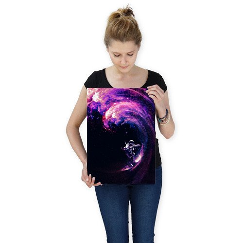 space surfing wave astronaut surf colors space stars galaxy Illustration