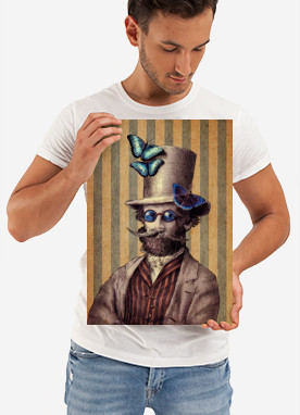 vintage victorian butterfly butterflies insects tophat moustache beard whimsical blue popinjay