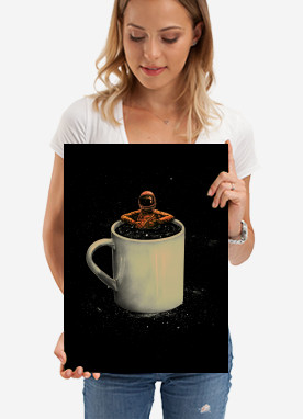 spaceart space astronaut coffee stars lol surreal