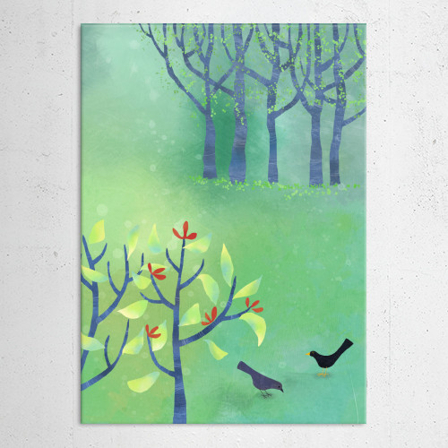 april easter spring green landscape birds blossom hedge trees squirrell painting art naive blackbird Landscape