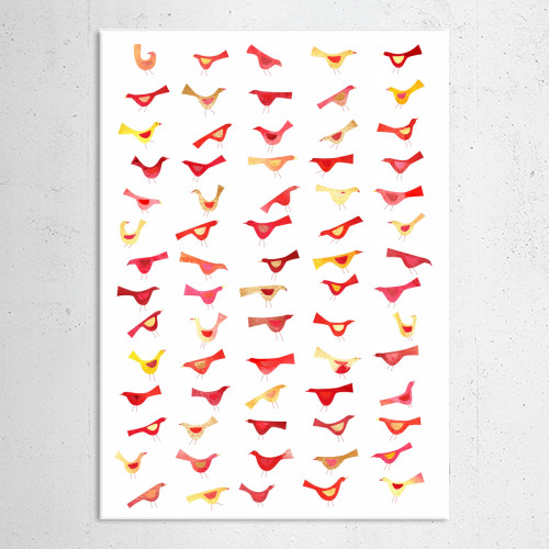 birds watercolor watercolour art painting squirrell pink red orange yellow cute flock happy design Animals