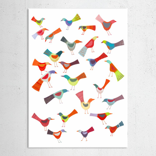 bird birds painting art illustration bright colorful colourful cute flock funny squirrell Animals