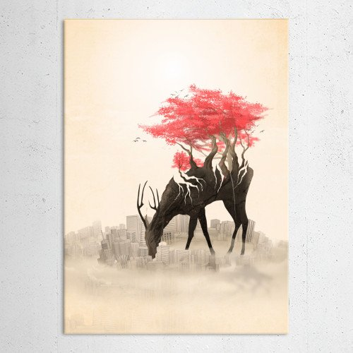 deer wild forest roots trees flowers red flowers red city urban skyline revenge nature Animals