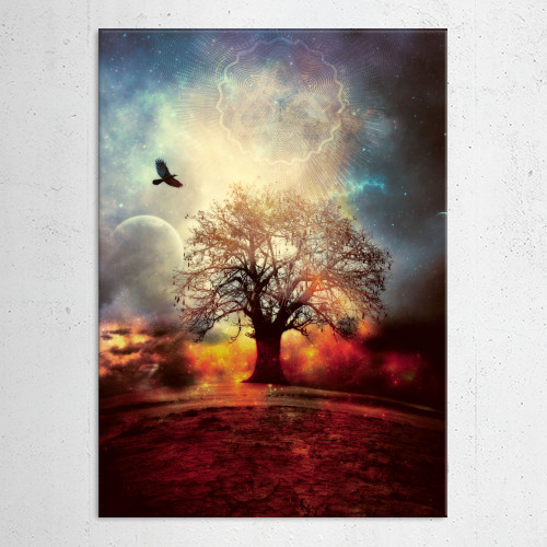 dream lanscape space sacred geometry smoke sky space planet moon bird fly tree alone stars surreal Landscape