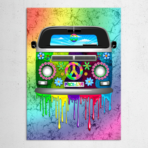 hippie van groovy retro bus peaceandlove peacesign peace flowers paint rainbow drippingpaint popart Other