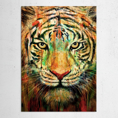 tiger watercolor paint mixed media nature colors animals Paintings