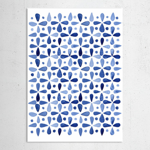 geo geometry watercolor watercolour abstract geometric cobalt grid pattern blue Abstract