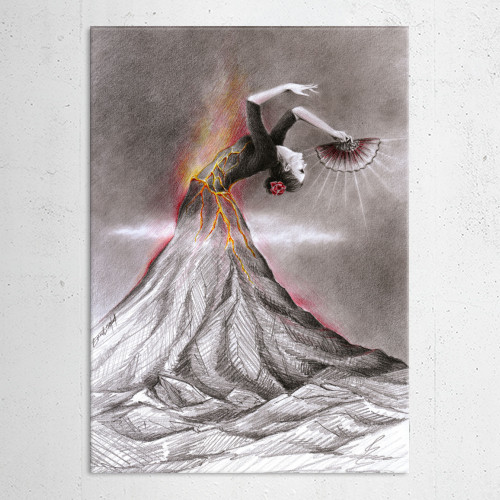 volcano woman dance drawing flamenco passion red fire nature lava graphite surreal smoke dancing Illustration