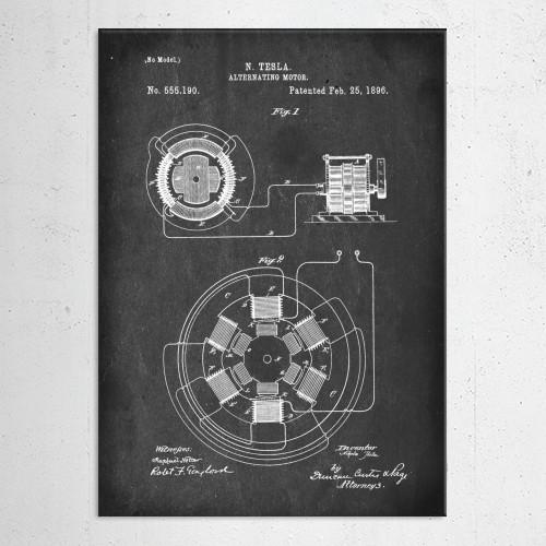 patent tesla alternating motor vintage illustration Illustration