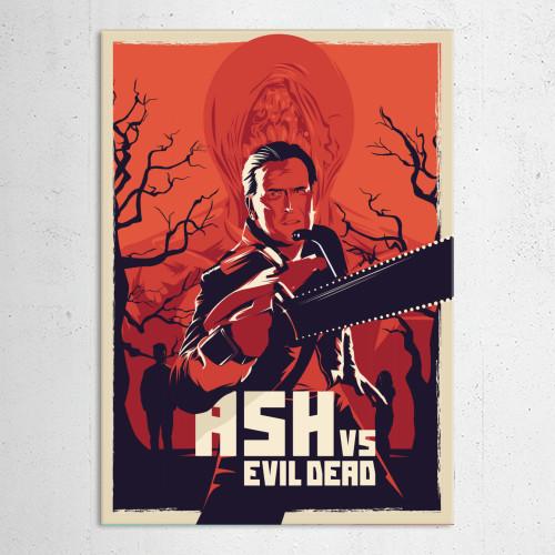 ash vs evil dead sam riami bruce cambel series poster alternative movie film purple orange trash horror Movies & TV
