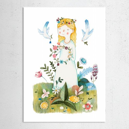 nature flowers garland wreath colourful light woman hippie environment birds branch lover respect grass meadow world pencil coloured spring Illustration