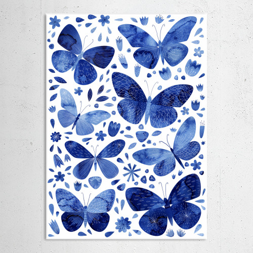 butterfly butterflies indigo blue flowers floral painting watercolor nicsquirrell Paintings