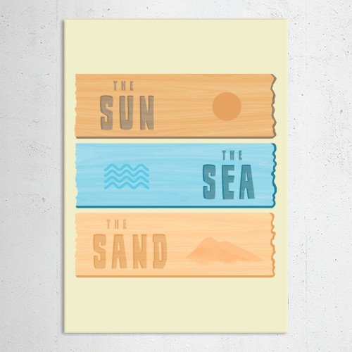 summer holidays sun sea sand beach vacation beachhome ocean sign Illustration