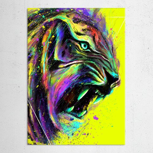tiger animal cat neon colors nature digital art design cool unique geometric lines abstract colorful Animals