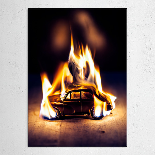 Morris Minor Car Burning Vintage Retro Fire Flames Abstract .