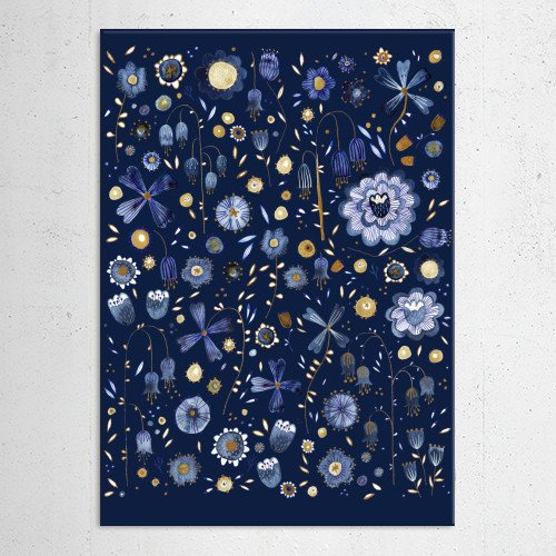 indigo blue gold flower flowers nature floral painting watercolor art pattern Paintings