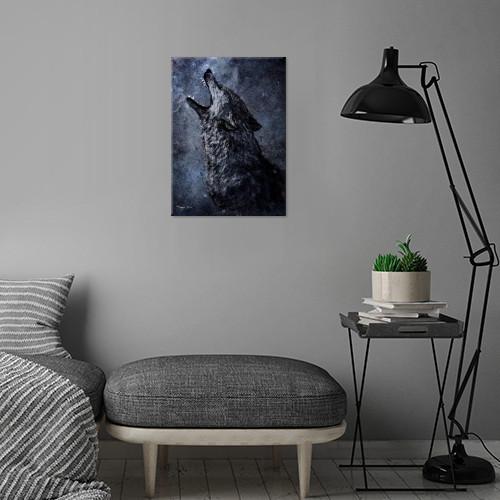 wolf the wild moonlight dark scream space Animals