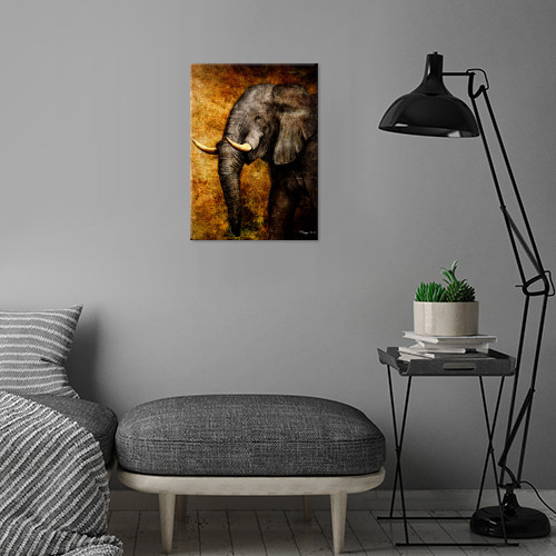 elephant the wild roma digital paint from sketch rough yellow sepia wisdom Animals