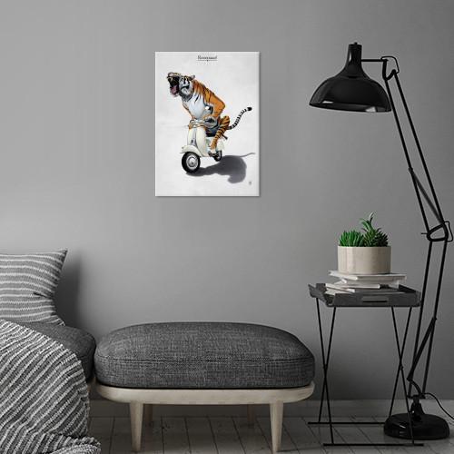 tiger vespa animal cat wild transport vehicle bike motorcycle feline stripes orange riding Illustration