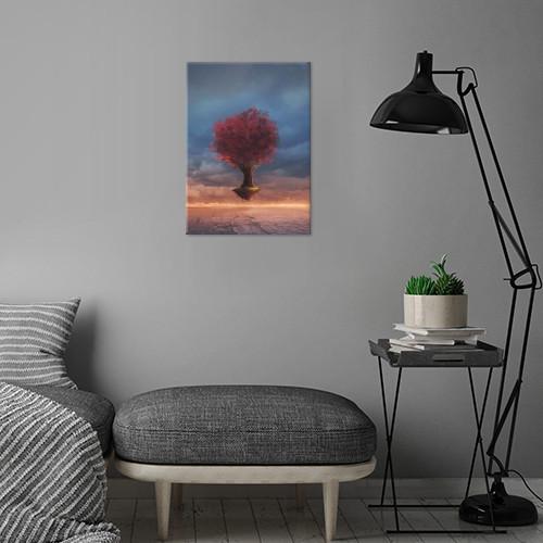tree floating leaves sunset wood yellow orange clouds dark dusk grass flying sand dunes Illustration